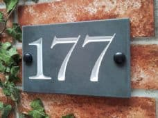 Slate three digit house number sign – 160mm x 100mm; 6.3 inches x 4 inches